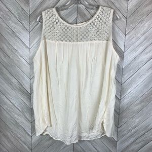 NWT cream sleeveless crochet/lace top tank top